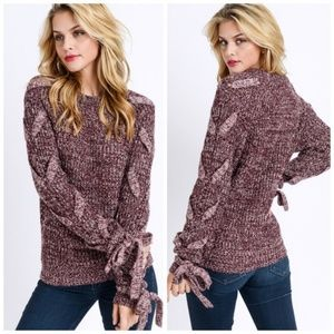 Marled Thick Knit Sweater with Braided Detail